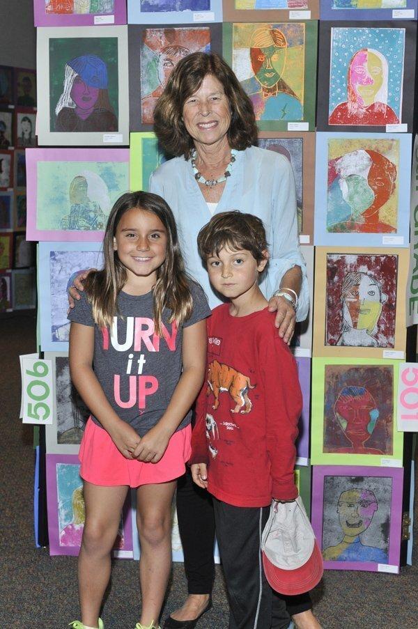 Art teacher Jennifer Luce with Kylee and Simon