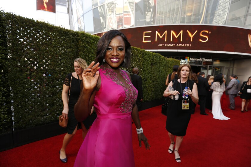 Viola Davis gives a wave.