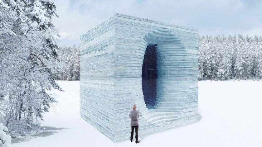 This warming hut was made of ice slabs.