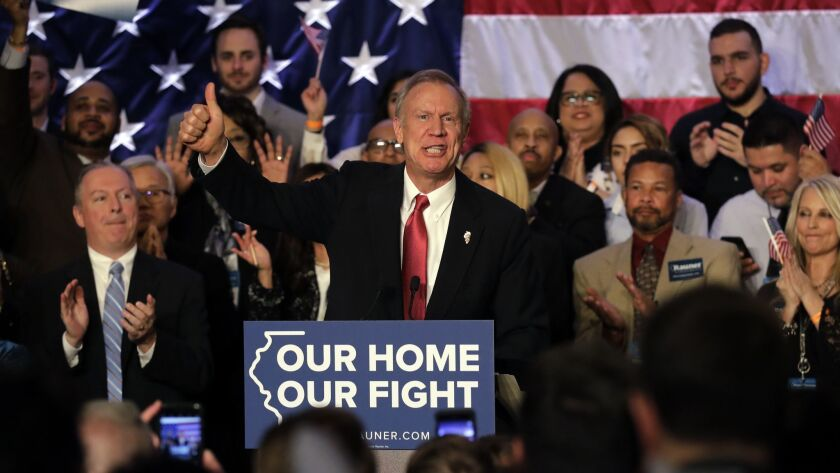 Illinois Gov. Bruce Rauner speaks to his supporters after winning the Republican nomination Tuesday.