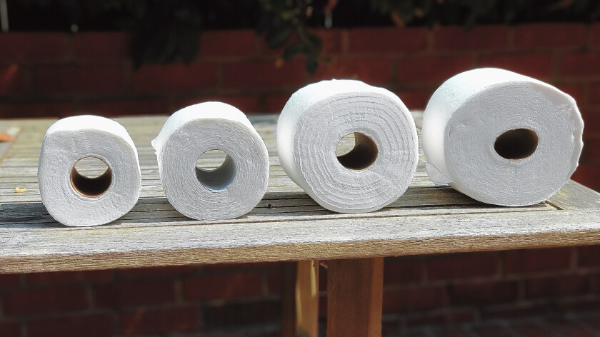 Regular, Double, Mega and Super-Mega toilet paper rolls. Where will it end?