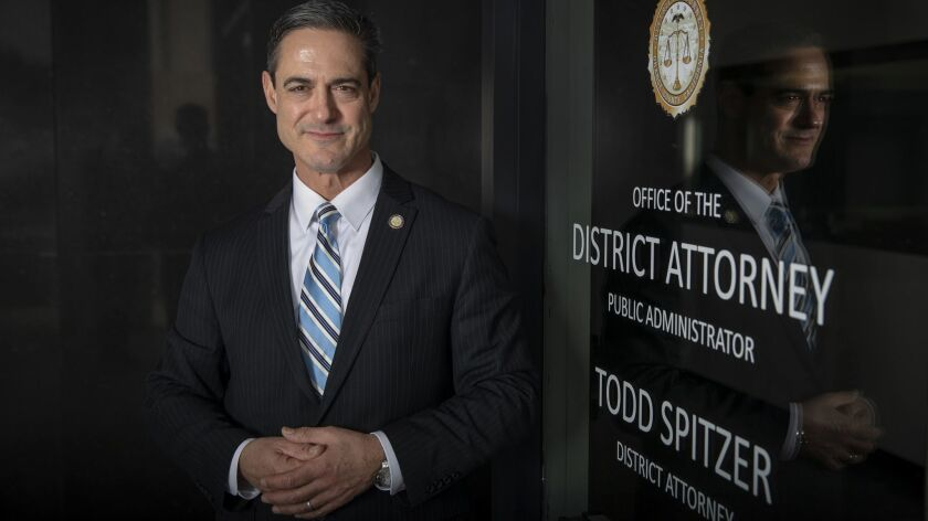 Orange County Dist. Atty. Todd Spitzer outside the door of his office