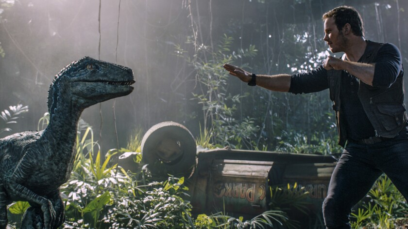 "Owen (CHRIS PRATT) reconnects with Velociraptor Blue in ""Jurassic World: Fallen Kingdom."" When the i"