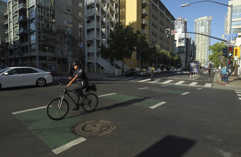 Downtown San Diego streets make way for protected bike lanes, causing excitement, confusion - The San Diego Union-Tribune