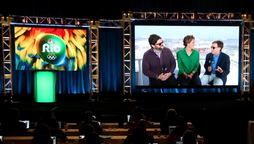 NBC's Bob Costas, left, Mary Carillo and Jim Bell via satellite from Rio at the 2016 TCA press tour.