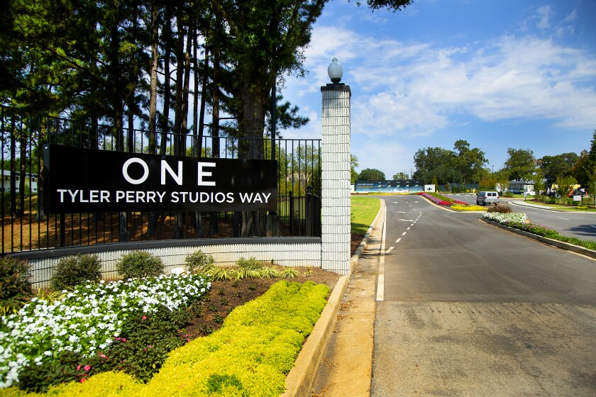 The entrance to Tyler Perry Studios in southwest Atlanta.