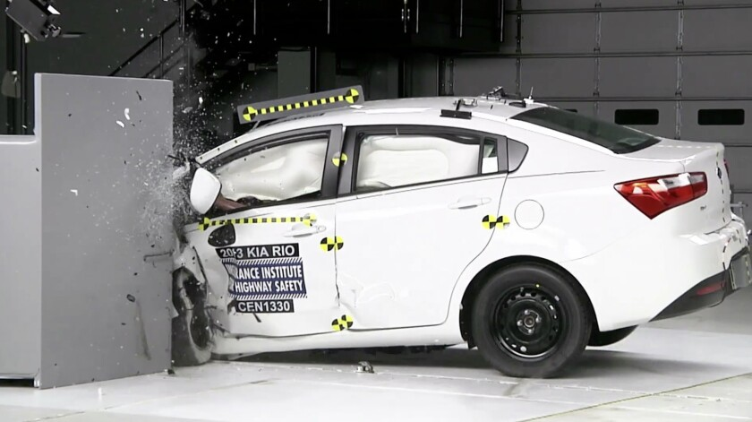 The Kia Rio, identified by the Insurance Institute for Highway Safety as having the highest driver death rate of cars currently on the road, received an overall marginal rating in the IIHS' small overlap front crash test.