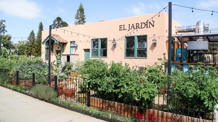 SAN DIEGO, CA June 28th, 2018 | This is a working garden area at El Jardin restaurant at Liberty Sta