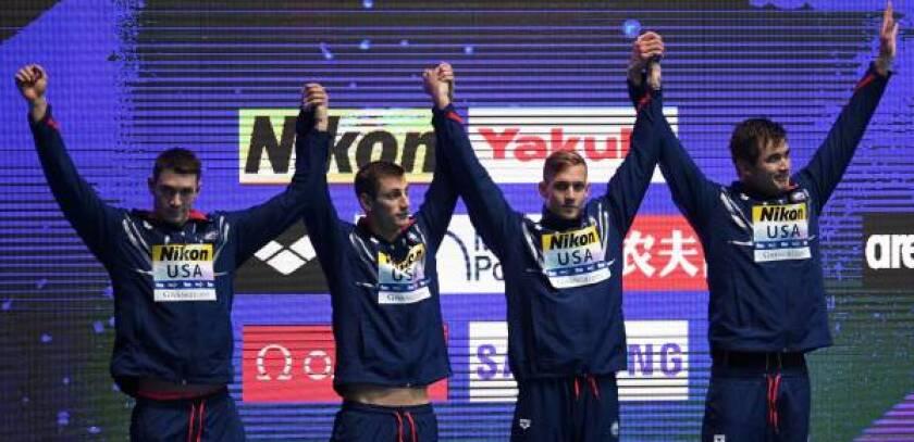U.S. swimmers Ryan Murphy, Andrew Wilson, Caeleb Dressel and Nathan Adrian
