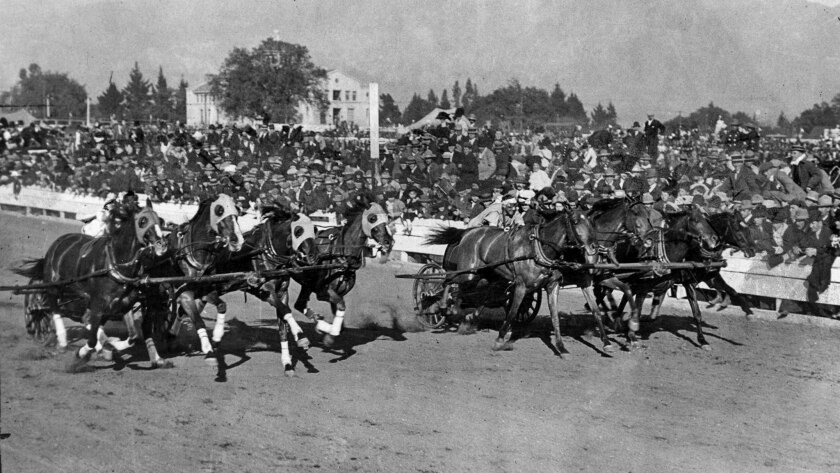 Jan. 1, 1915: Two teams of horses drive down the stretch during the last chariot races at the Tournament of Roses.