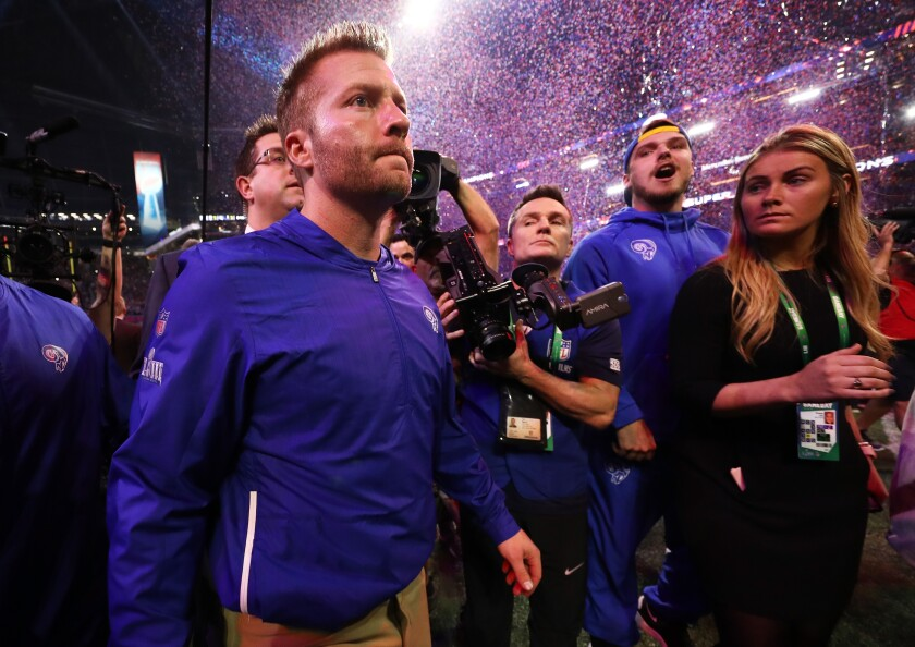 ATLANTA, GA - FEBRUARY 03: Head coach Sean McVay of the Los Angeles Rams walks offsides the field after the New England Patriots defeat the Rams 13-3 during Super Bowl LIII at Mercedes-Benz Stadium on February 3, 2019 in Atlanta, Georgia. (Photo by Jamie Squire/Getty Images) ** OUTS - ELSENT, FPG, CM - OUTS * NM, PH, VA if sourced by CT, LA or MoD **