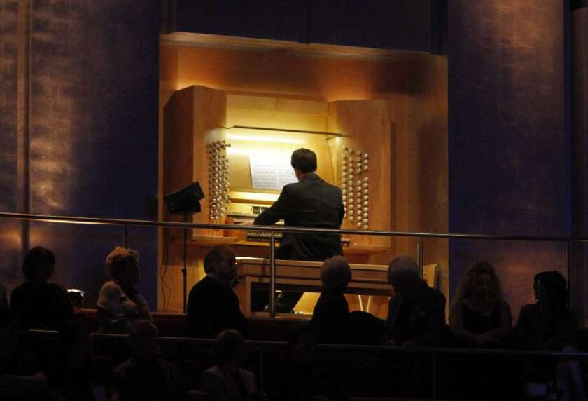 Organist Paul Jacobs performs at the Renee and Henry Segerstrom Concert Hall in 2011. He'll take on Disney Hall's instrument over the weekend.