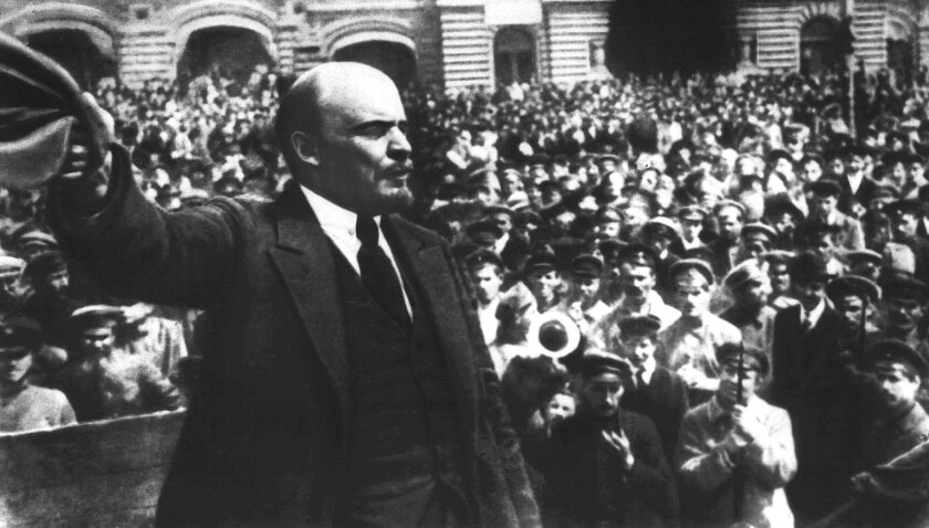 Soviet founder Vladimir Lenin addresses the new Soviet Army in Moscow's Red Square in this May 25, 1919, photo by the TASS news agency. The post-Soviet ITAR-TASS service reverted to its communist-era name on Wednesday.