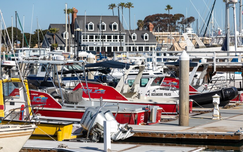 Oceanside harbor police boats at the docks near their headquarters along North Harbor Drive on Wednesday.