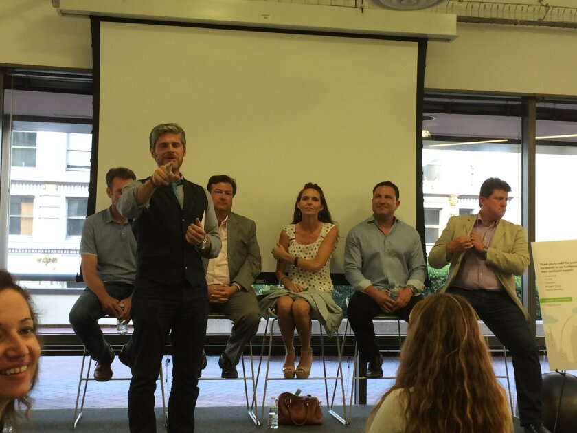 TakeLessons CEO Steven Cox led a panel discussion about San Diego's innovation economy at incubator EvoNexus downtown Thursday.