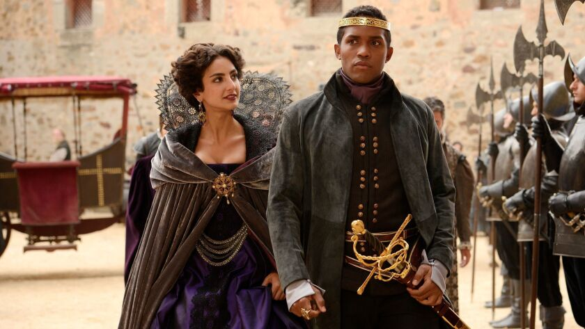 "Medalion Rahimi as Princess Isabella and Sterling Sulieman as Prince Escalus in ABC's ""Still Star-Crossed."" The series premieres Monday."