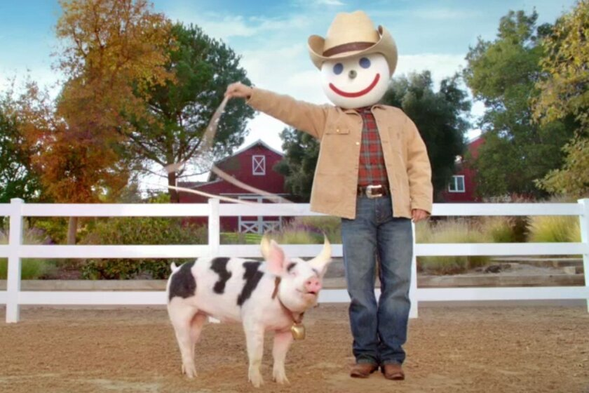 Jack in the Box lassoing borks on his farm.