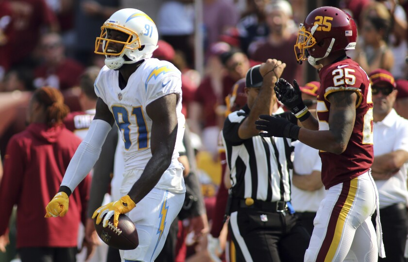 Chargers wide receiver Mike Williams (81) celebrates after a catch against Washington.