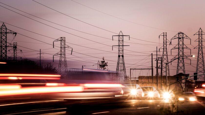 DECEMBER 6, 2017 , SACRAMENTO CA. Powerlines run near CA-50 on the east side of the city. Energy tra