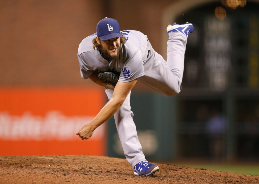 Clayton Kershaw pitches against the San Francisco Giants during the eighth inning of a game Tuesday at AT&T Park.
