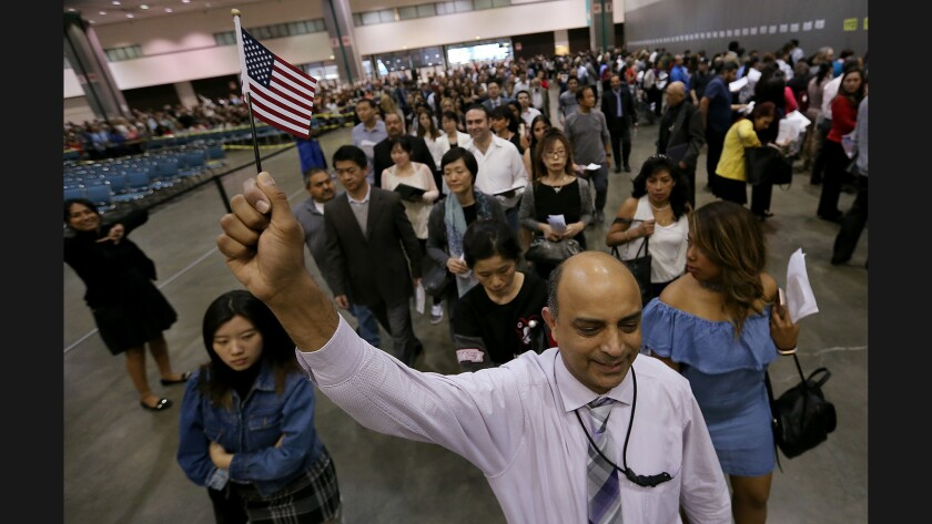 I'm so happy today': Thousands attend L A  naturalization