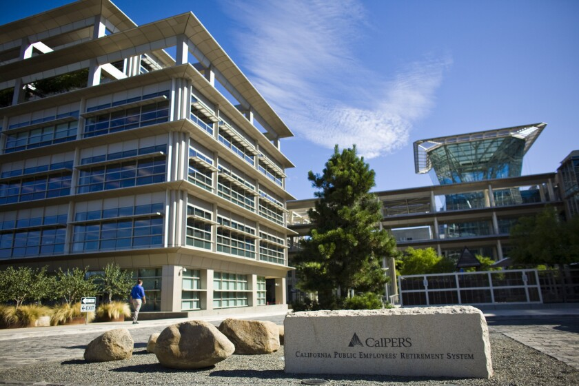 Shown are the Sacramento headquarters of the California Public Employees' Retirement System, the nation's largest public pension fund.