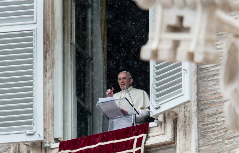 Pope Francis delivered his weekly blessing -- and a slip of the tongue -- from the window of his Vatican apartment Sunday.