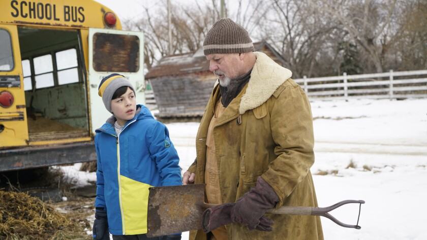 """Luca Villacis, left, and Michael Ironside in the movie """"Knuckleball."""""""