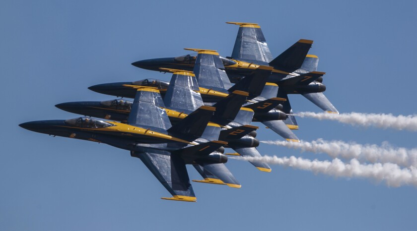 The U.S. Navy Blue Angels flight demonstration squadron.