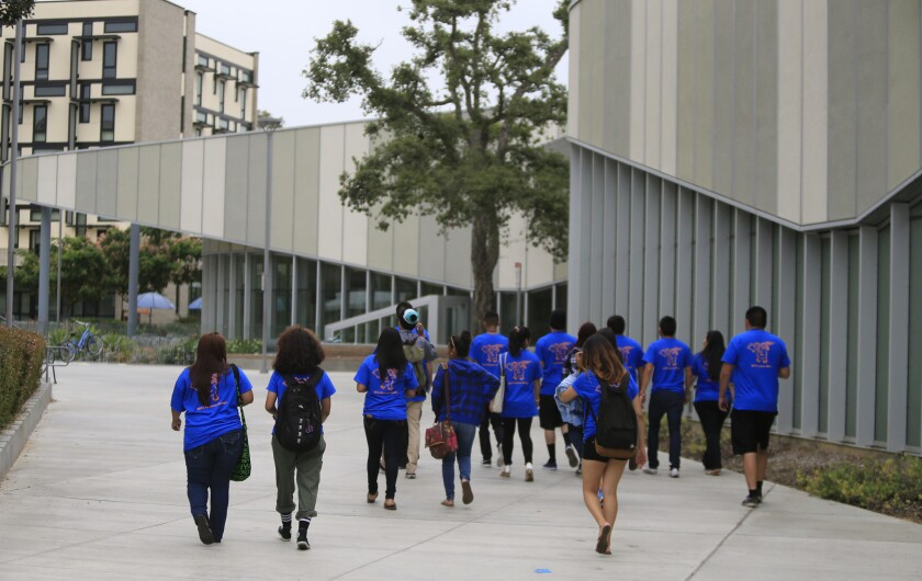 Incoming freshmen tour the dorms at California State University last year.