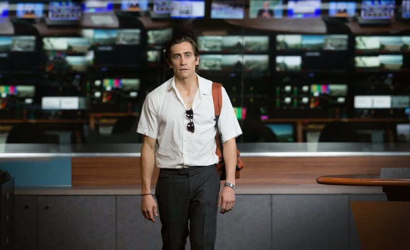 """In this image released by Open Road Films, Jake Gyllenhaal appears in a scene from the film, """"Nightcrawler."""" (AP Photo/Open Road Films, Chuck Zlotnick)"""
