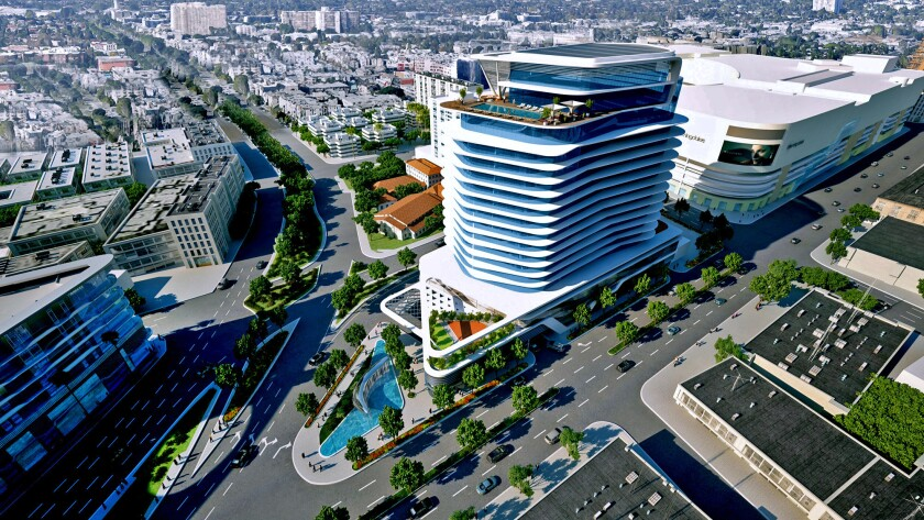 A rendering of the 20-story apartment tower proposed by Los Angeles developer Rick Caruso on La Cienega Boulevard.