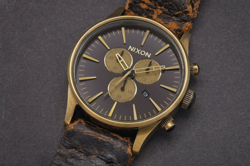 The Tom Waits Sentry Chrono ($1,500), has a watch band made from the muscian's left leather boot. It is one of 84 limited-edition timepieces created by Nixon and the Grammy Foundation that will hit retail Nov. 14, with all proceeds going to benefit a charity that helps the music community fight addiction.