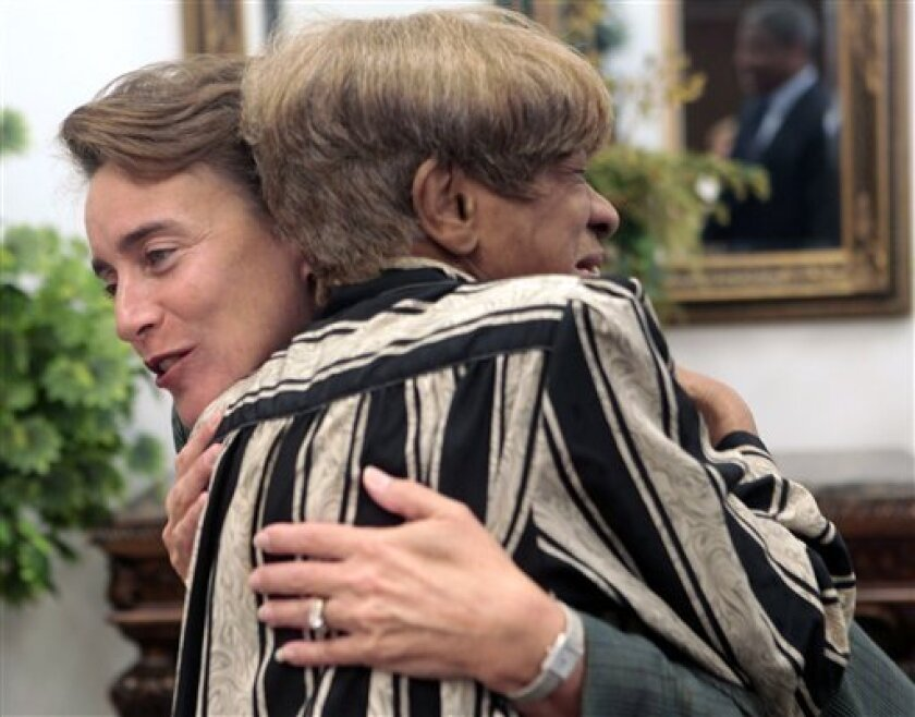 Sen. Blanche Lincoln, D-Ark., hugs Vivian Howard during a campaign stop in Pine Bluff, Ark., Monday, Nov. 1, 2010. (AP Photo/Russell Powell)