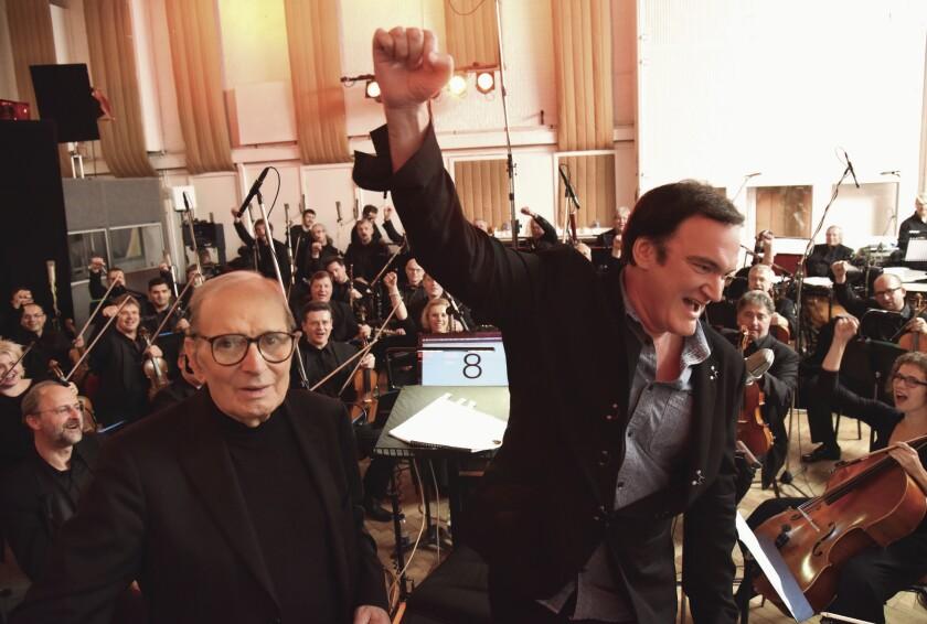 Ennio Morricone, left, and Quentin Tarantino at Abbey Road Studios.