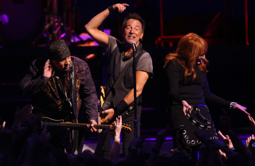 Steven Van Zandt, Bruce Springsteen and Patti Scialfa perform at the Los Angeles Sports Arena on March 15.