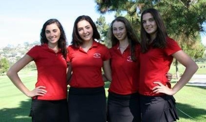 Rebecca Ryan (second from left) pictured with Talia Chalhoub, Madeleine Garay and Kaiulani Frejfar — all members of the 2015 La Jolla High School girls varsity golf team