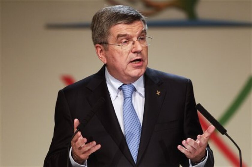 Thomas Bach, of Germany, speaks after being named the new president of the International Olympic Committee (IOC) during the 125th IOC session in Buenos Aires, Argentina, Tuesday, Sept. 10, 2013. (AP Photo/Victor R. Caivano)