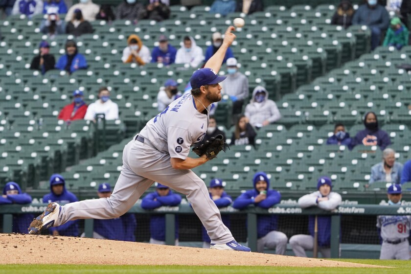 Clayton Kershaw pitches against the Chicago Cubs.