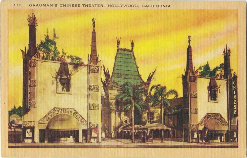 Vintage postcard shows Grauman's Chinese Theater in Hollywood, with palm trees in the courtyard and a yellow-and-orange sky.