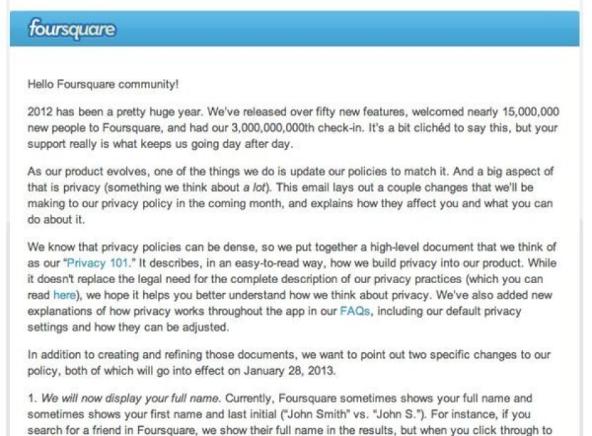 Foursquare announces privacy changes; will now show full names