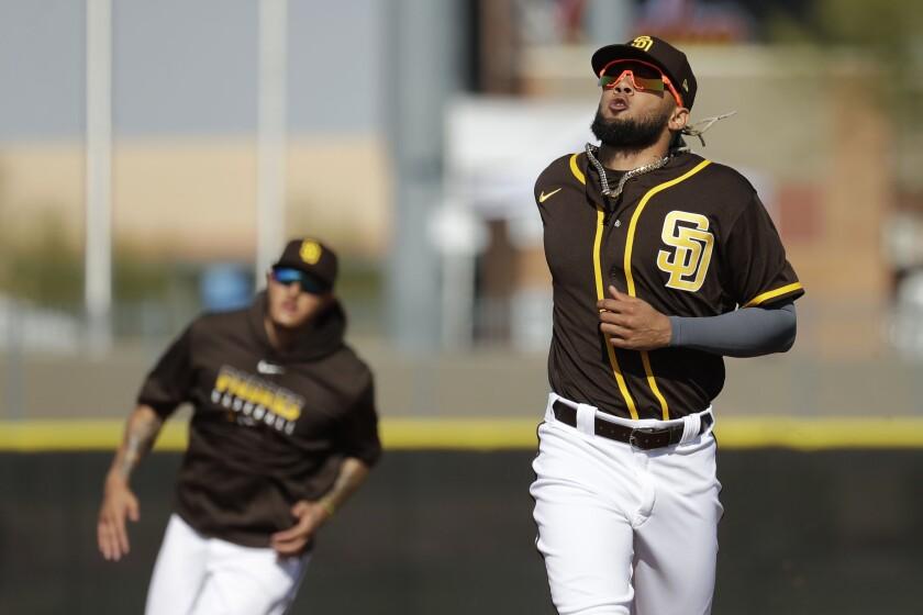 Padres shortstop Fernando Tatis Jr. runs during a spring training drill in February.