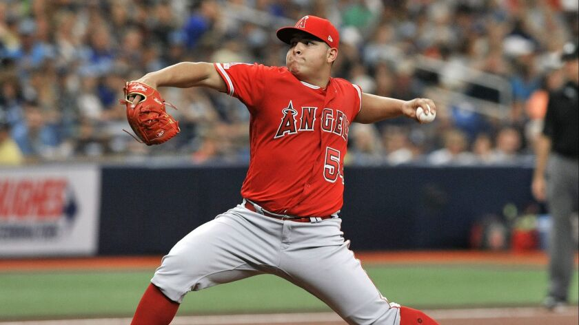 Angels pitcher Jose Suarez pitches against the Tampa Bay Rays during the second inning on June 15 in St. Petersburg, Fla.