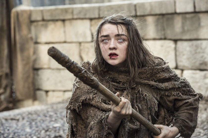 """Maisie Williams as Arya Stark in """"Game of Thrones,"""" premiering its sixth season on Sunday at 9 p.m."""
