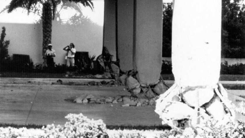 A 1979 earthquake damaged the brittle concrete columns of the Imperial County Services Building in El Centro.
