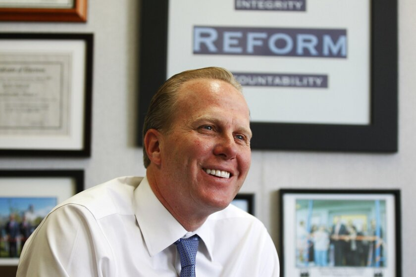 Mayor-elect Kevin Faulconer in his office following his mayoral victory.