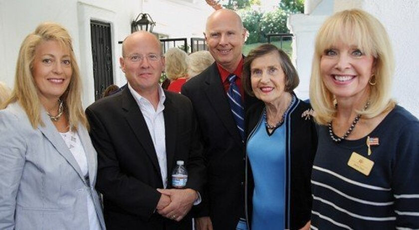 Marie Waldron, guest speaker Mark Mix (president of the National Right to Work Legal Defense Foundation), Wayne Iverson, Jinny Martin, Sheryl Chase