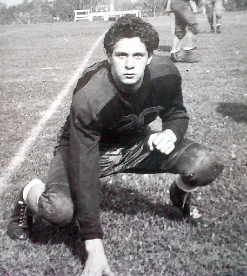 Tony Lopez, columnist Steve Lopez's father, poses in a shot from the 1940s, when he played high school football in Pittsburg, Ca.