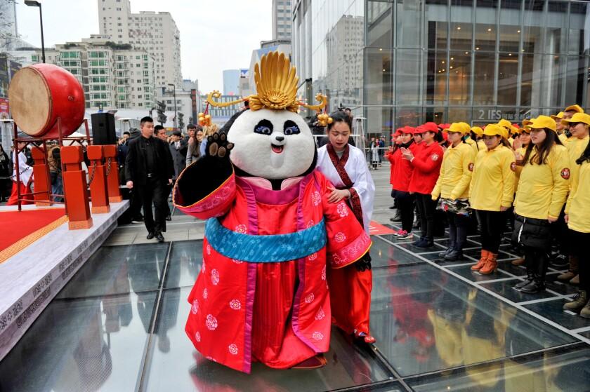 "Cartoon character Mei Mei promotes ""Kung Fu Panda 3"" on Jan. 20, 2016, in Chengdu, Sichuan Province of China."