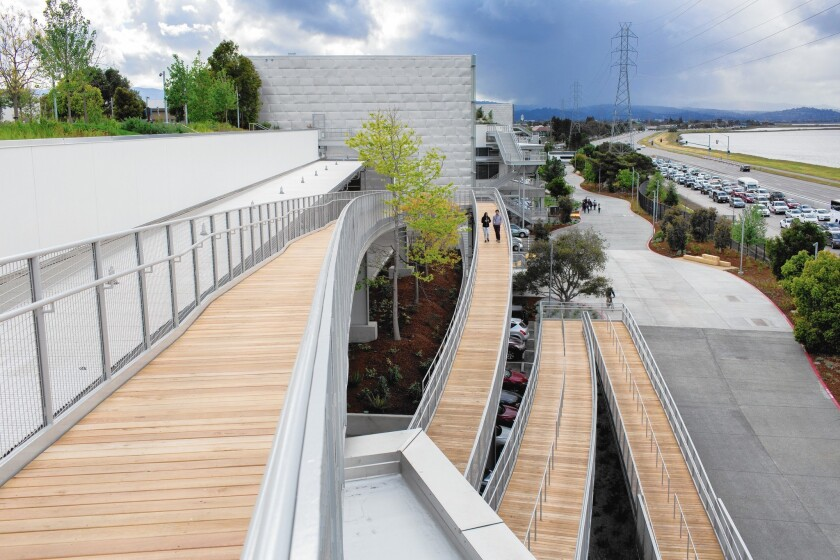 The Frank Gehry-designed Facebook building in Menlo Park, Calif.